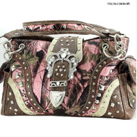 Pink Camo Conceal Carry Buckle Handbag