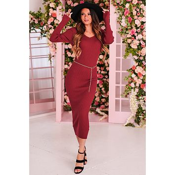 Forget The Rest Ribbed Knit Maxi Dress (Burgundy)