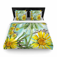 """Liz Perez """"Sunny Day"""" Yellow Floral Woven Duvet Cover"""