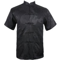 New Black Chinese Men Summer Leisure Shirt High Quality Silk Rayon Kung Fu Tai Chi Shirts Plus Size M L XL XXL XXXL M061306