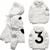 KANYE Jacket Hip Hop Windbreaker TOUR 3 Zipper Jacket US Size Men Waterproof Streetwear Outerwear uniform coat YEEZUS Y3 Jacket With Logo