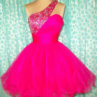 PROM HOT PINK COCKTAIL EVENING PAGEANT SHORT WEDDING GOWN DRESS XS 2/4