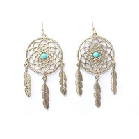 Turquoise Dream Catcher and Feather Earrings