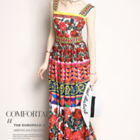 Givenchy The latest fashion printed suspender sexy back dress elegant dress