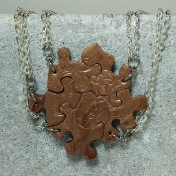 Puzzle Piece Necklace Set of 5 Bridesmaid or Best Friend Rose Gold Polymer Clay floral stamping