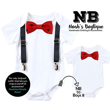Baby Boy Valentines Day Outfit with Black Suspenders Heart Bow Tie