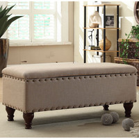 HomePop Nailhead Upholstered Storage Bench | Overstock.com Shopping - The Best Deals on Benches