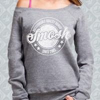 Questionable Quality Humor Off-The-Shoulder Sweatshirt (Heather Grey) Girl - Smosh Girls - Official Online Store on District Lines