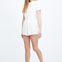 Pins & Needles Lace Trim Shorts in Ivory - Urban Outfitters