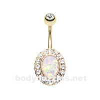 White Opal Elegance Gold Belly Button Ring 14ga Navel Ring Body Jewelry Surgical Steel