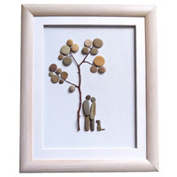Pebble art gift for couple dog lovers, Romantic Christmas gift, Engagement, wedding, anniversary gift idea, New home present, Love wall art