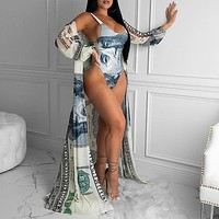 Money Print Beach Wear Swimming Suit for Women Two Piece Set Bathing Suit Sexy Swimwear with Cover Up Set