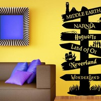 YOYOYU Wall Decal Vinyl Sticker Storybook Signpost Fandom Harry Potter Lord Of The Ring Narnia Peter Pan Typography WW-276