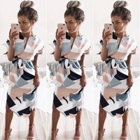 Casual Geometry Print Midi Dress with Blet