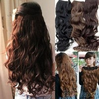 Hot Fashion Full Head Clip Curly/ Wavy Women Synthetic Hair Extension Extensions [7860060615]