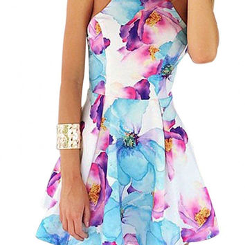 Floral Halter Mini Dress