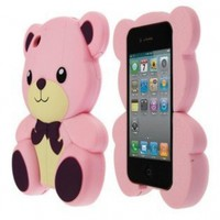 Hello Teddy Bear Design Phone Cover Case for Apple iPhone 4 / 4S, Pink