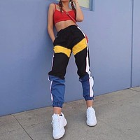 Women High Waist Patchwork Pants 2018 Summer Fashion Black Pencil Pants Streetwear Cargo Pants Loose Jogger Women Bottom