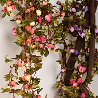 220cm Fake Silk Roses Ivy Vine Artificial Flowers With Green Leaves For Home Wedding Decoration Hanging Garland Decor