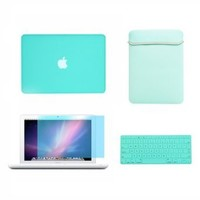 """TopCase® Macbook White 13"""" 13-inch (A1342 / Latest) 4 in 1 Bundle - Rubberized Hot BLUE Hard Case Cover + Matching Color Soft Sleeve Bag + Silicone Keyboard Cover + LCD HD Clear Screen Protector With TopCase® Mouse Pad"""