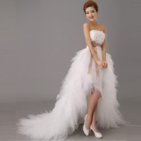 Royal Princess Wedding Dress Short Train Formal Dress quality design wedding growns new arrival