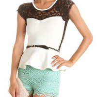 Belted Lace Inset Peplum Top: Charlotte Russe