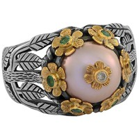 Emma Chapman Pink Pearl Emerald Diamond Yellow Gold Silver Ring