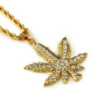 Shiny Stylish Gift New Arrival Jewelry Pendant Leaf Hip-hop Accessory Necklace [10529030723]