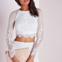 Missguided - Long Sleeve Striped Lace Crop Top White