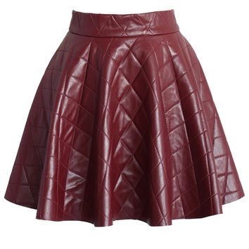 Quilted Faux Leather Mini Skater Skirt in Wine Red