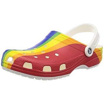 Crocs Men's and Women's Classic Graphic Clog | Water Slip On Shoes, Rainbow