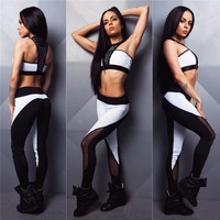 (2 Pcs) Women Fashion Sports Bra Mesh Top Vest and Elastic Stretch White Black Grey Plus Slimming Pants Leggings For Running/Yoga/Sport Set _ 9251