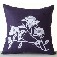 Amore Beaute Flower Pillow Cover - Handcrafted Purple Pillow Cover with Camellia Flowers Embroidered in Silk Thread - Linen Pillowcases - Modern Throw Pillow Covers - Cute Pillow Covers - Kawaii - Decorative Pillows with Tea Flower Embroidery (12x12)