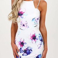 White Double Strap Floral Print Overlap Mini Dress