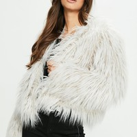 Missguided - Grey Faux Fur Coat