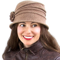 Pleated Boiled Wool Cloche Hat in Taupe