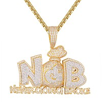 Mens Never Going Broke Rich Dollar Money Bag Bling Pendant