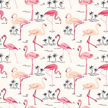 Pink Flamingo Islet Palm Tree Tropical Beach Style Multicolored Wallpaper Reusable Removable Accent Wall Interior Art (wal076)