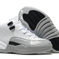 New Nike Air Jordan 12 Kids Shoes White Gray