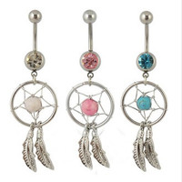 Body Jewelry Crystal Gem Dream Catcher Navel Dangle Belly Barbell Button Bar Ring Body piercing Art = 1669408708
