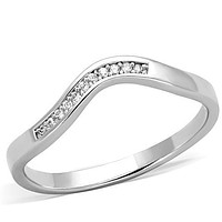 Band Rings TK1682 Stainless Steel Ring with AAA Grade CZ