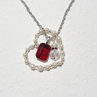 Floating Heart Necklace, Valentines Heart Necklace, Red Crystal Cream Pearl Heart Necklace