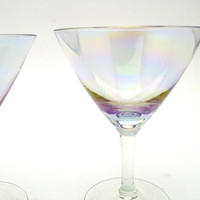 Set of 2 Small Martini Glasses, Iridescent Cocktail Glasses, 3 oz, Mid Century Barware, circa 1960s
