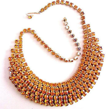 Topaz Rhinestone 6 Row Necklace, Unsigned Weiss, Gold Plated, Vintage