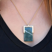 Square Stone Necklace Olive