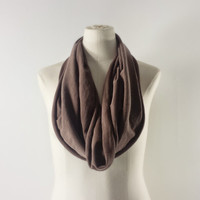 MiLK CHOCOLATE Cowl Neck Scarf - Brown Infinity Scarf - Cotton Scarf - Available in Many Colors