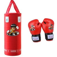 Kids Teenager Boxing Free Combat Gloves Punch Bag red gloves  red punch bag