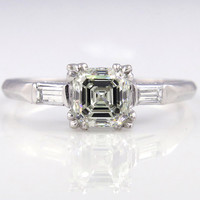 Art Deco GIA 1.16ct Antique Vintage Asscher, Square Emerald  Cut Diamond Engagement Ring in PLATINUM, Circa1920