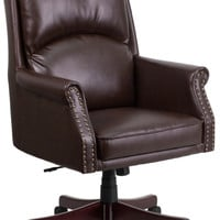High Back Pillow Back Brown Leather Executive Swivel Office Chair