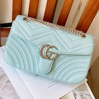 Gucci 2020 new Marmont macaron series Marmon bag Rainbow Color Blue